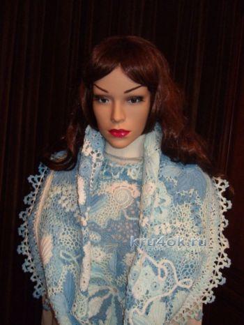 Жакет Бирюза — работа Марии Казановой. Вязание крючком.