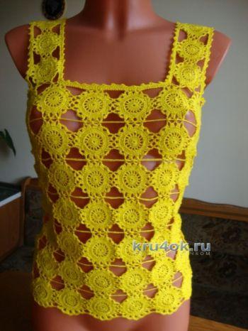 Желтый топ крючком — работа Марии. Вязание крючком.