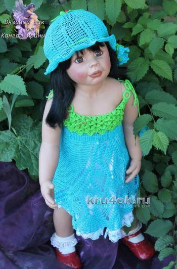 Сарафан и шляпка для девочки — работы Ирины Кангаш. Вязание крючком.