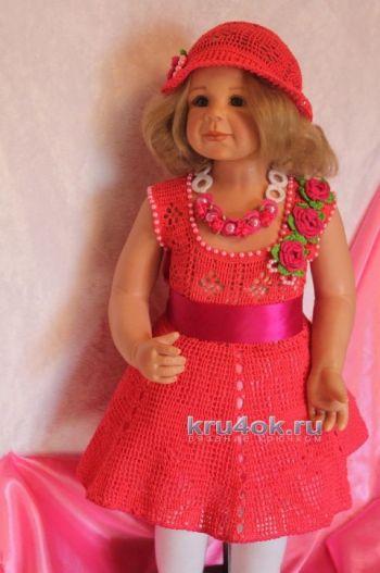 Платье Алая роза — работа Ирины. Вязание крючком.