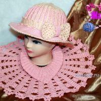 Теплая шляпа и манишка крючком — работы Ирины