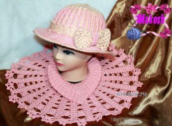 Теплая шляпа и манишка крючком - работы Ирины