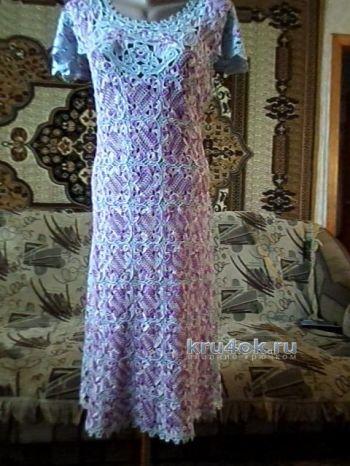 Платье в технике ирландского кружева — работа Павленко Елены. Вязание крючком.