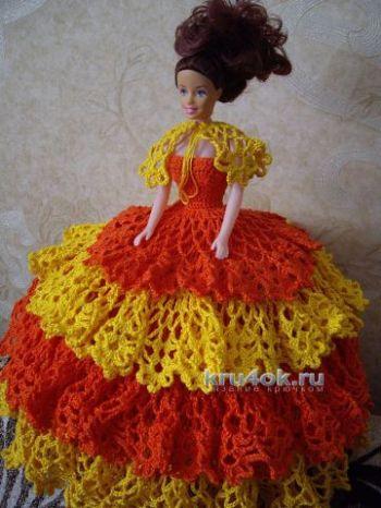 Пышное платье для Барби крючком