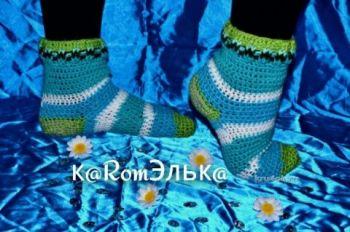 Вязаные носочки крючком — работа кaRomЭлькa. Вязание крючком.