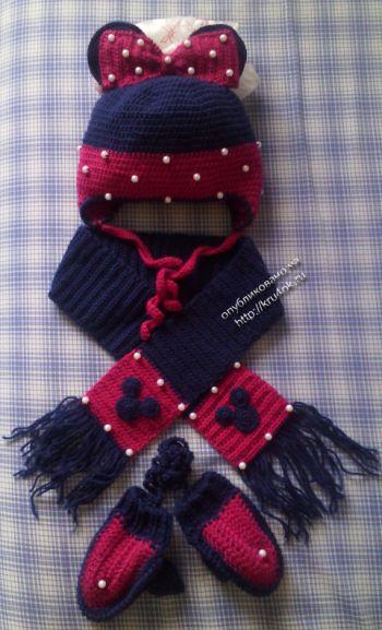 Вязаная крючком шапка и варежки — работы Натальи Хромых. Вязание крючком.