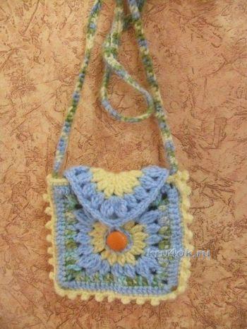Детская сумочка Квадратик — работа Елены. Вязание крючком.