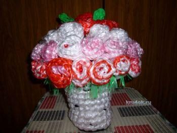 Букет из роз, связанный крючком. Вязание крючком.