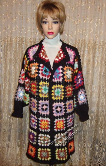 Пальто из мотивов бабушкин квадрат, бохо вязание