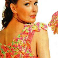 Платье с узором «листья»