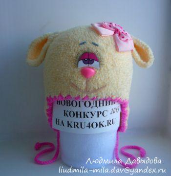Шапочка овечка — работа Людмилы Давыдовой. Вязание крючком.