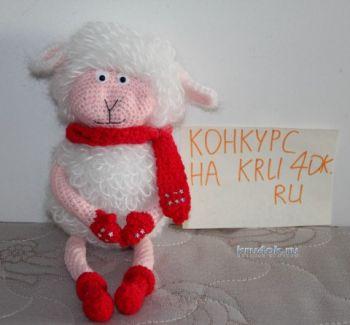 Новогодняя овечка — работа Екатерины. Вязание крючком.