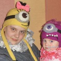 Детские шапочки крючком — работы Ольги