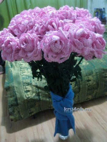 Розы крючком – работа Валентины. Вязание крючком.