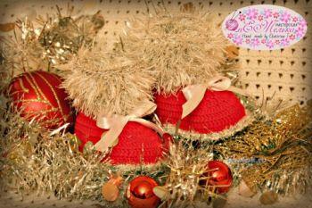 Новогодние пинетки – работы Екатерины. Вязание крючком.
