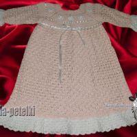 Платье вязанное кремовое — работа Аллы