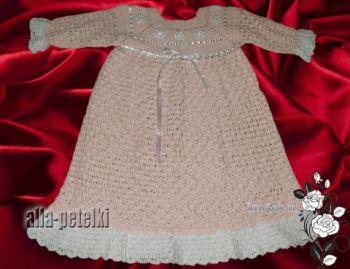 Платье вязанное кремовое — работа Аллы. Вязание крючком.