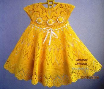 Вязание детского платья Солнышко