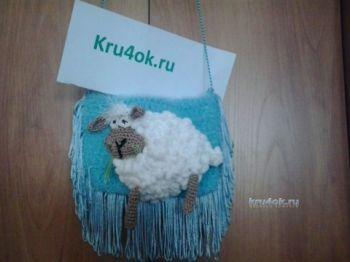 Сумочка крючком Новогодняя овечка - работа Ольги
