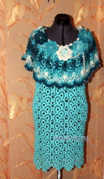 Вязаное платье «Новогодний иней» — работа Ирины Кангаш. Вязание крючком.