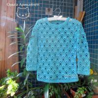 Вязаный крючком пуловер — работа Ольги