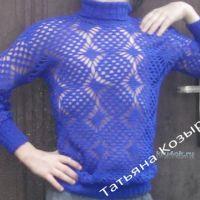 Ажурный пуловер крючком — работа Татьяны