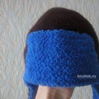 Шапка — ушанка крючком — работа Елены Ворожко