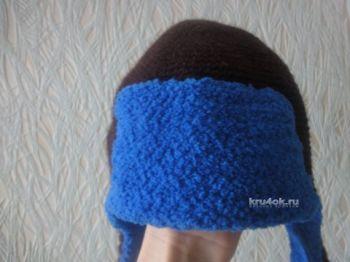 Шапка – ушанка крючком – работа Елены Ворожко. Вязание крючком.