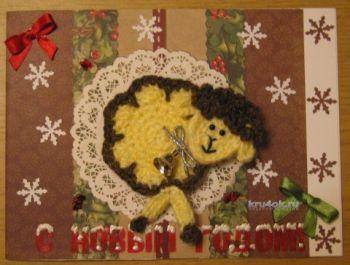 Новогодние открытки – работы Елены Зубаревой. Вязание крючком.