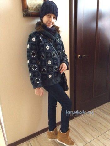 Теплая куртка крючком из бабушкиных квадратов