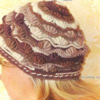 Вязаная шапка «Шоколадные ракушки» — работа Яны