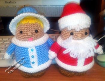 Дед мороз и снегурочка крючком. Вязание крючком.