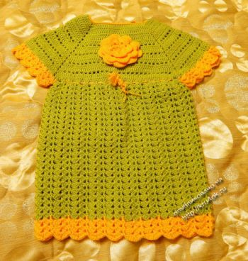 Детское платье крючком — работа Наталии. Вязание крючком.
