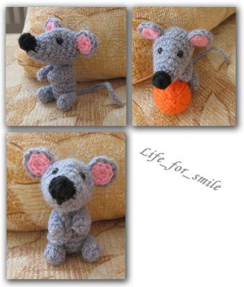 Вязаная крючком игрушка - мышь, для начинающих