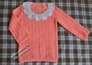 Персиковый свитер крючком — работа Анастасии