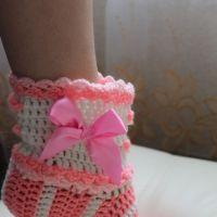 Носки крючком — работа Анастасии