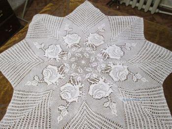 В технике филейное вязание пряжа лен