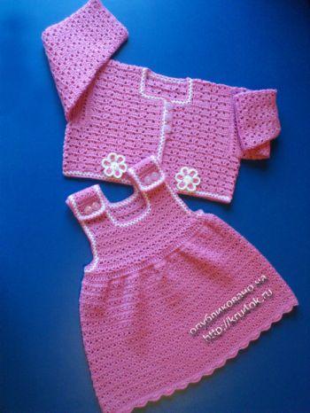 Сарафан и болеро для девочки – работы Елены Аферовой. Вязание крючком.