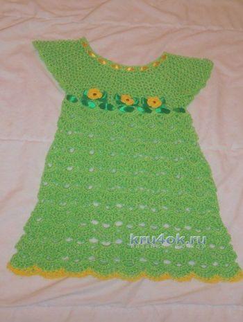 Детское платье крючком – работа Натальи Трусовой. Вязание крючком.