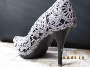 Туфли обвязанные крючком – работа Дины. Вязание крючком.