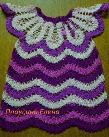 Платье для девочки в технике брюггское кружево. Вязание крючком.