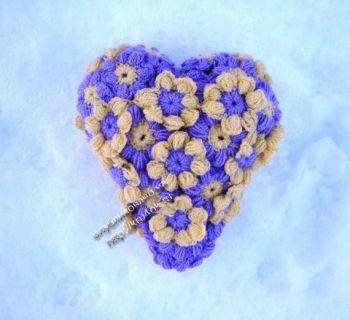 Сердечко из мотивов ко Дню Святого Валентина. Вязание крючком.