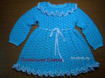 Вязаное крючком платье для девочки – работа Елены. Вязание крючком.