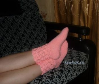 Вязаные крючком носки - работа Анастасии