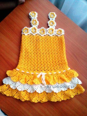 Сарафан и панамка для девочки – работа Дарьи. Вязание крючком.