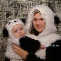 Вязаный костюм панда — работа Юлии Добычиной