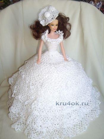 Платье для Барби – работа Рябыкиной Натальи Викторовны. Вязание крючком.
