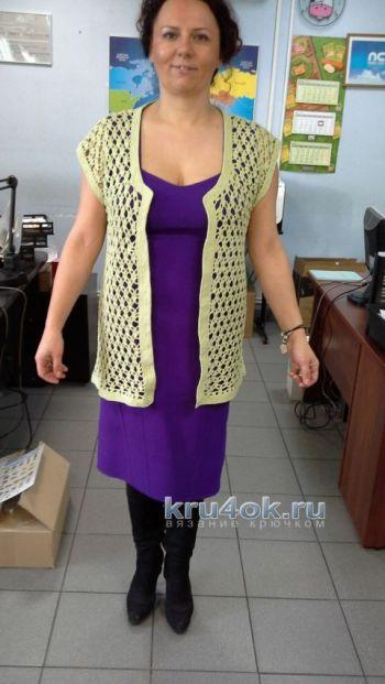 Вязаные спицами жилеты и безрукавки для женщин, схемы 78