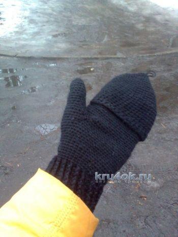 Вязаные крючком варежки – перчатки. Вязание крючком.
