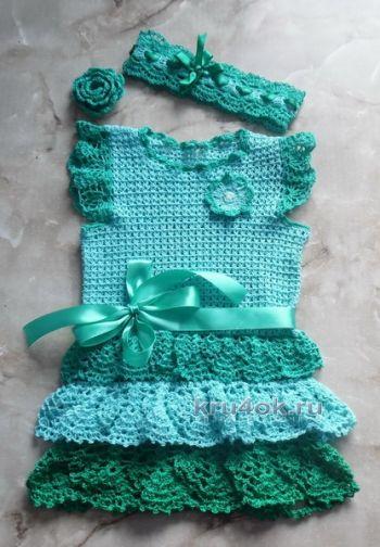 Детское платье крючком – работа Татьяны. Вязание крючком.